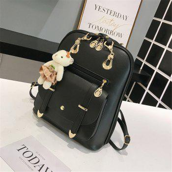 PU Fashion Wild Simple Small Fresh Female Backpack Tide - BLACK