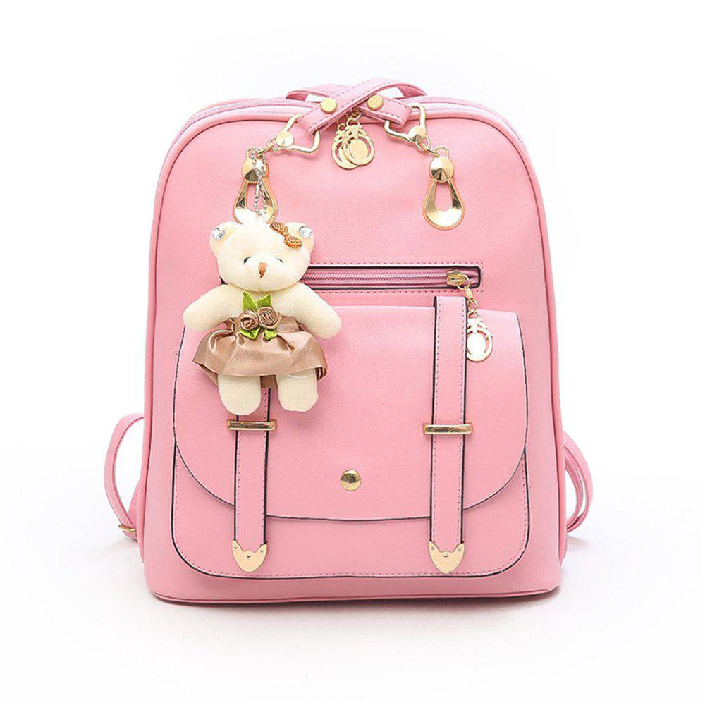 PU Fashion Wild Simple Small Fresh Female Backpack Tide - LIGHT PINK