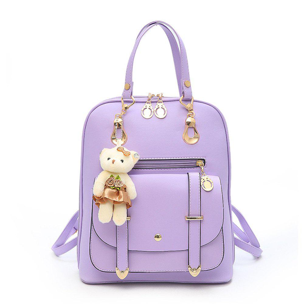 PU Fashion Wild Simple Small Fresh Female Backpack Tide - JASMINE PURPLE