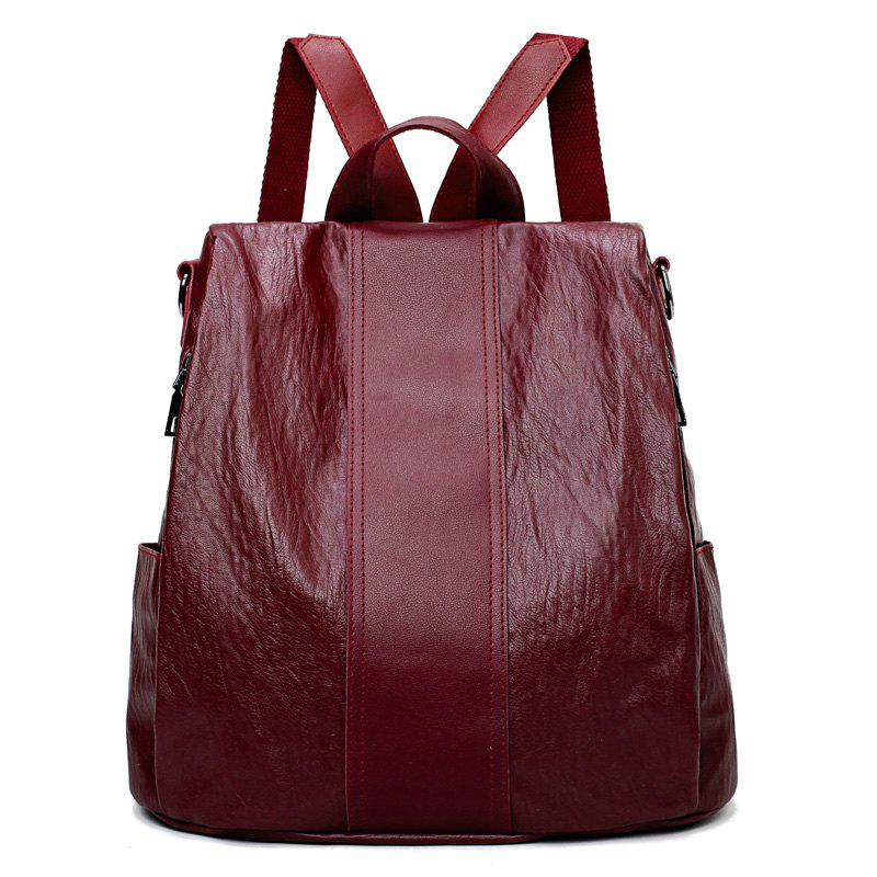 Large Capacity Lady's Backpack - RED WINE