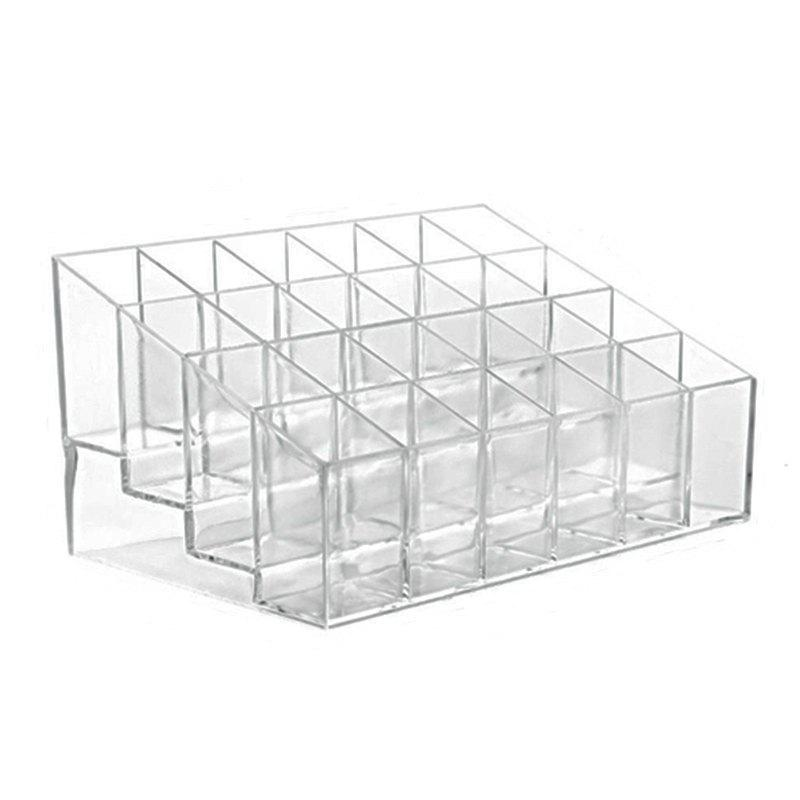 HECARE Cosmetic Lipstick Display Stander Acrylic  Girls Nail Polish Dresser Box 24 Grids - TRANSPARENT 1PC