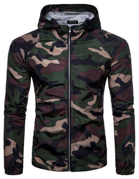 2018 New Spring and Summer Men's Camouflage Hooded Sunscreen Casual Jacket - DARK FOREST GREEN XL
