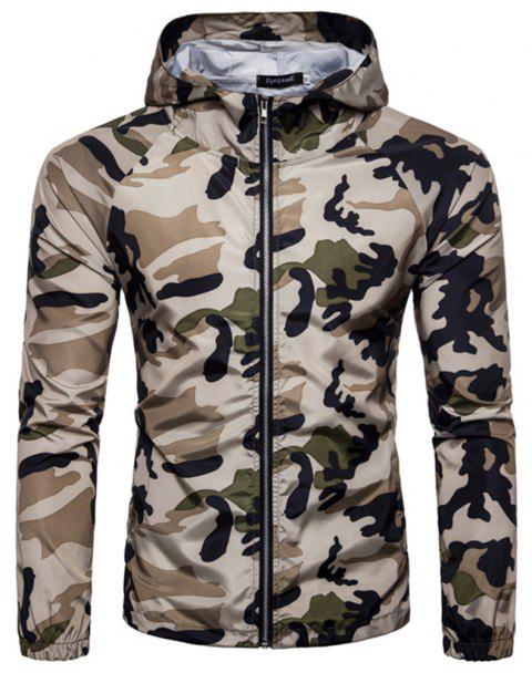 2018 New Spring and Summer Men's Camouflage Hooded Sunscreen Casual Jacket - BLANCHED ALMOND XL