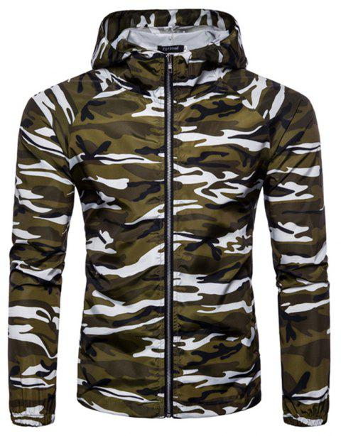 2018 New Spring and Summer Men's Camouflage Hooded Sunscreen Casual Jacket - WHITE M