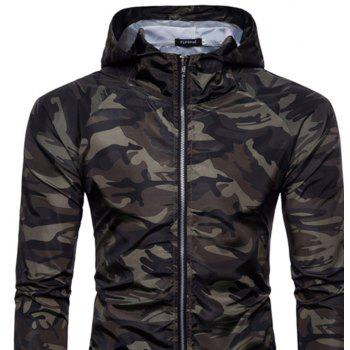 2018 New Spring and Summer Men's Camouflage Hooded Sunscreen Casual Jacket - GREEN L