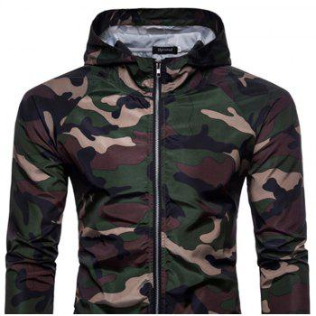 2018 New Spring and Summer Men's Camouflage Hooded Sunscreen Casual Jacket - DARK FOREST GREEN 2XL