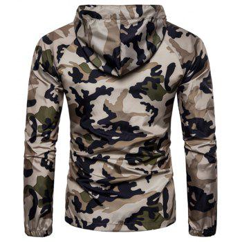 2018 New Spring and Summer Men's Camouflage Hooded Sunscreen Casual Jacket - BLANCHEDALMOND 2XL