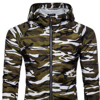 2018 New Spring and Summer Men's Camouflage Hooded Sunscreen Casual Jacket - WHITE XL