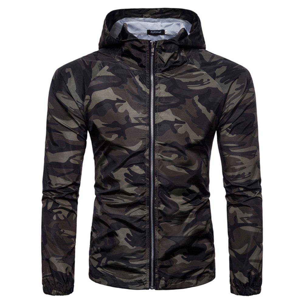 2018 New Spring and Summer Men's Camouflage Hooded Sunscreen Casual Jacket - GREEN XL