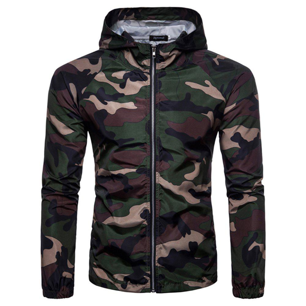 2018 New Spring and Summer Men's Camouflage Hooded Sunscreen Casual Jacket - DARK FOREST GREEN L