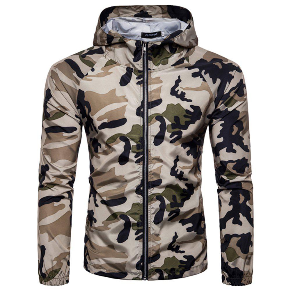 2018 New Spring and Summer Men's Camouflage Hooded Sunscreen Casual Jacket - BLANCHEDALMOND L