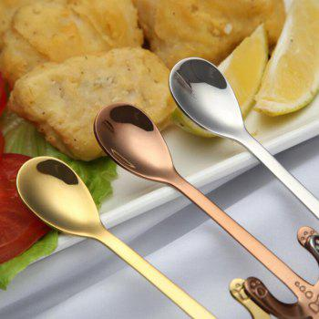 1PC Stainless Steel  Coffee Spoon Food Grade Ice Spoons Candy Teaspoon Kitchen Supplies Tableware - SILVER