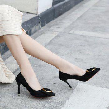 Spring New Pointed High Heels Shoes - BLACK 35