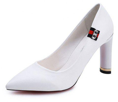 Spring New Pointed High Heel Velvet Shoes - WHITE 39