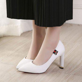Spring New Pointed High Heel Velvet Shoes - WHITE 35