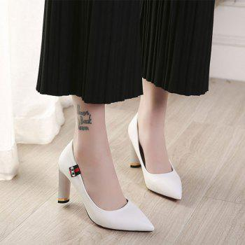 Printemps New Pointed High Heel Velvet Shoes - Blanc 37