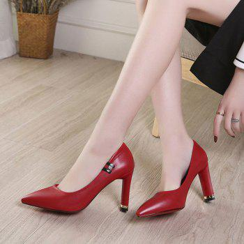 Spring New Pointed High Heel Velvet Shoes - RED 34