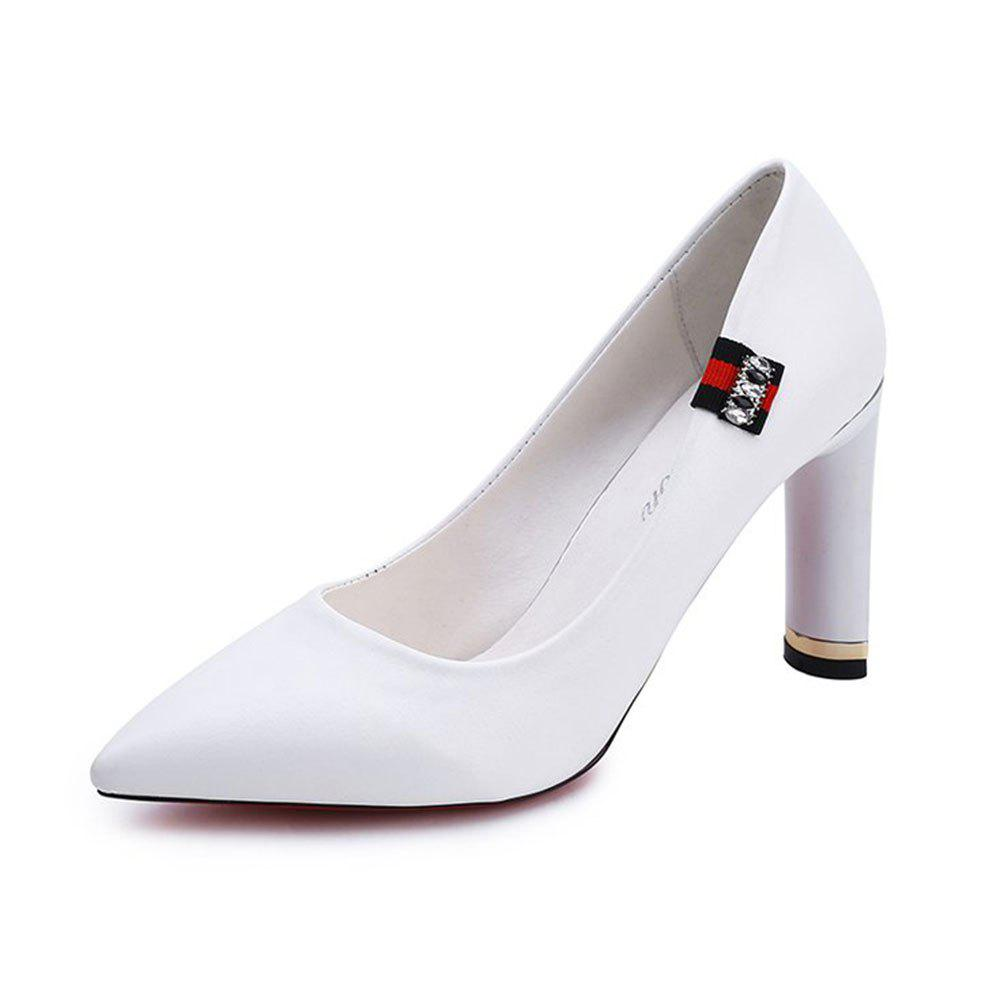 Printemps New Pointed High Heel Velvet Shoes - Blanc 35