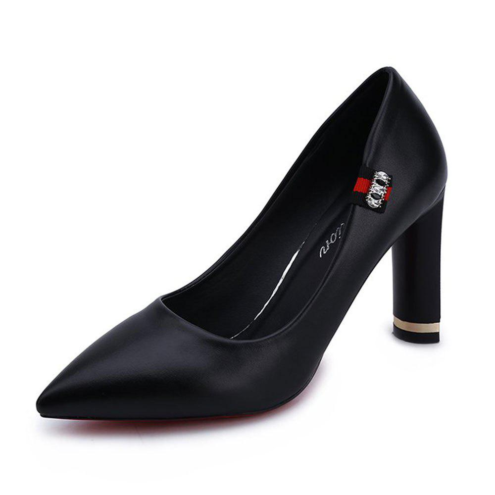 Spring New Pointed High Heel Velvet Shoes - BLACK 39