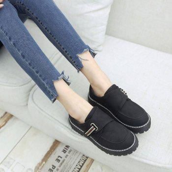 Flat Shoes with Round Head Casual Shoes - BLACK 37