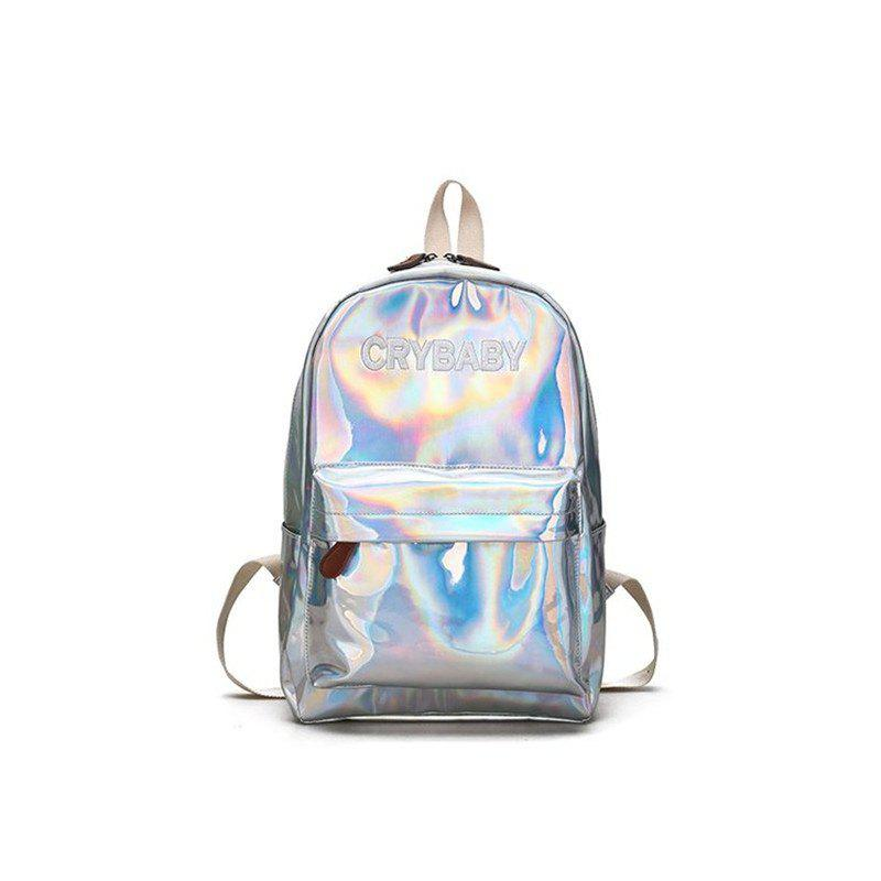 KKM080 Casual Simple Laser Light Shoulder Backpack - SILVER