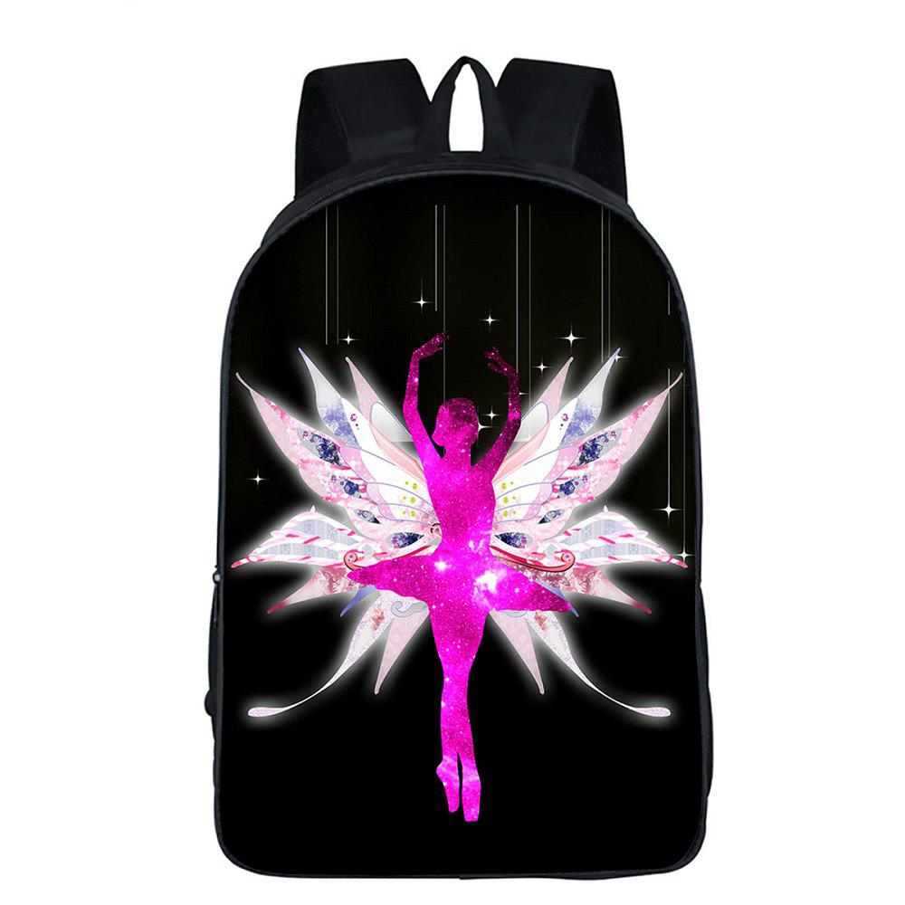 Simple Design Black Dancer Printed Girls Women Backpack - BLACK
