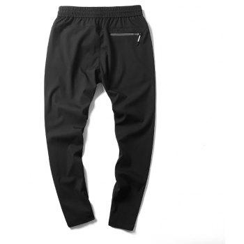 New Youth Leisure Speed Dry Pure Color Men's Trousers - BLACK L
