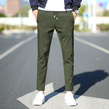 New Youth Leisure Speed Dry Pure Color Men's Trousers - HAZEL GREEN L