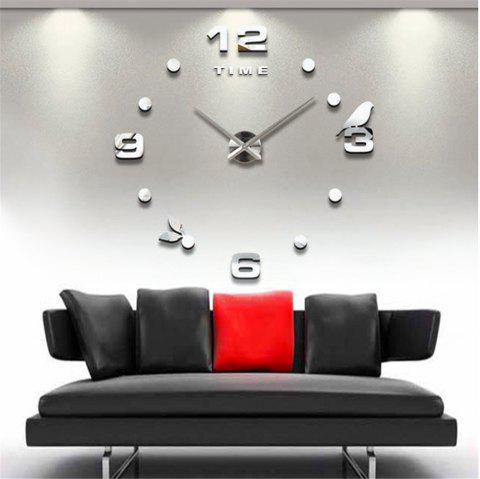 Large Size Creative Silent Wall Clock - SILVER
