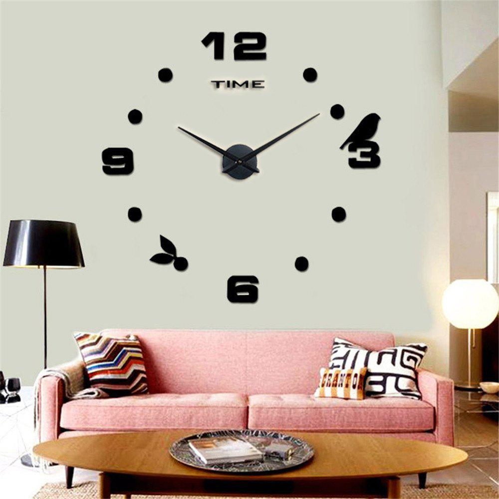 Large Size Creative Silent Wall Clock - BLACK