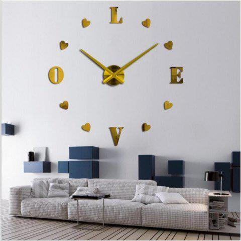3D Creative Mute Wall Clock - GOLD