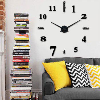 DIY Creative Fashion Watch Silent Wall Stickers - BLACK