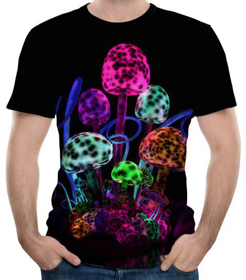 2018 Summer 3D Light Effect Mushroom Print Men's Round Neck Short-Sleeve T-Shirt - BLACK S