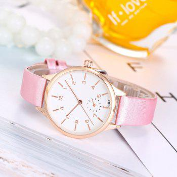 Women Casual Dress Leather Strap Quartz Watch - PEARL