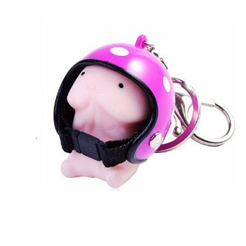 Jumbo Squishy Cartoon Boy with Helmet Cute Keychain Squeeze Stress Reliever Toy - DIMORPHOTHECA MAGENTA