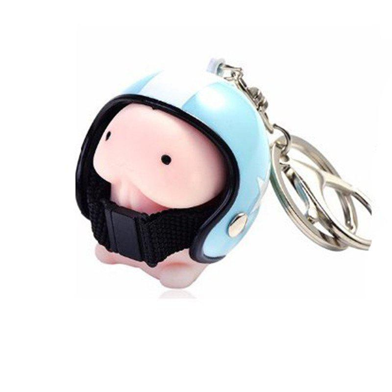 Jumbo Squishy Cartoon Boy with Helmet Cute Keychain Squeeze Stress Reliever Toy - CORAL BLUE
