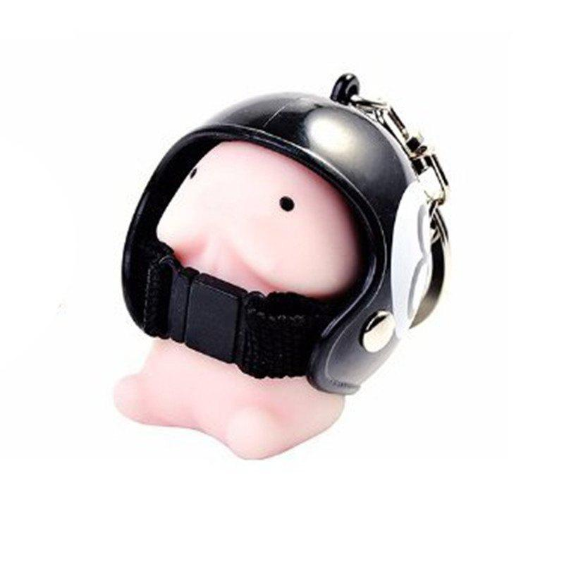 Jumbo Squishy Cartoon Boy with Helmet Cute Keychain Squeeze Stress Reliever Toy - NIGHT