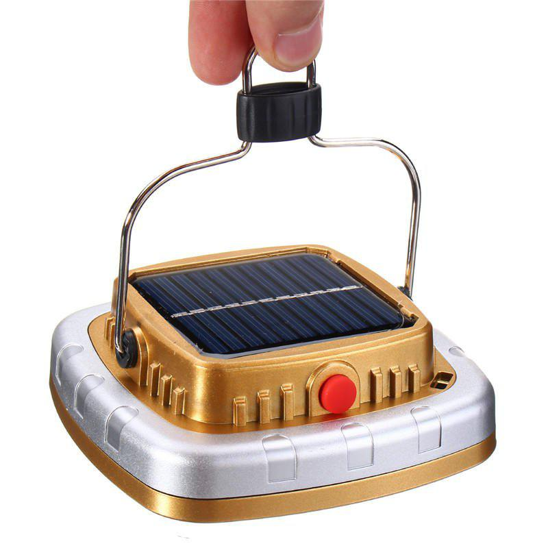 New Portable 3W 300LM COB LED Solar Lantern USB Rechargeable Camping Tent Light Emergency Lamp - BRIGHT YELLOW