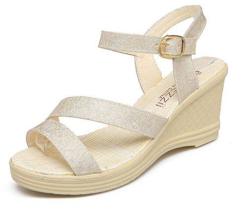 New Fashion Leisure  High Heel Women's Sandals - GOLDEN BROWN 38