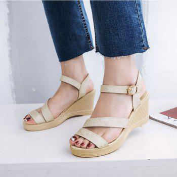New Fashion Leisure  High Heel Women's Sandals - GOLDEN BROWN 35