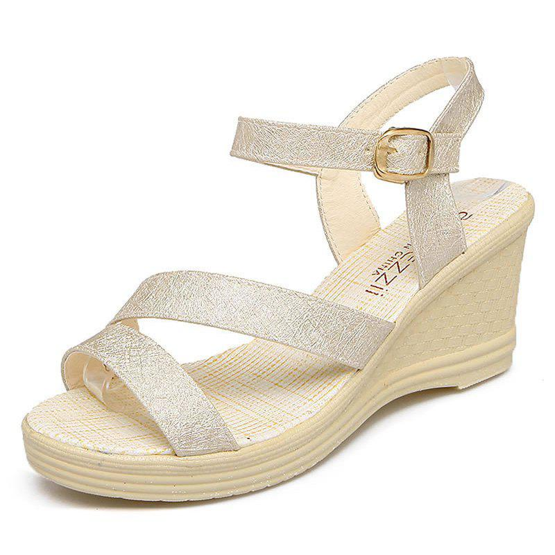 New Fashion Leisure  High Heel Women's Sandals - GOLDEN BROWN 39