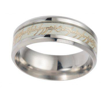 Stainless Steel Luminous Letter Ring Men Jewelry Birthday Gift - GOLDEN BROWN US SIZE 11