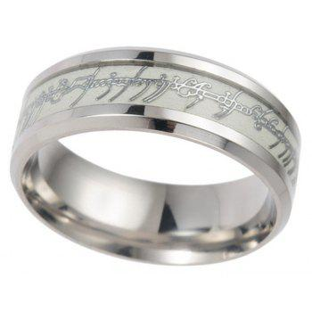 Stainless Steel Luminous Letter Ring Men Jewelry Birthday Gift - PLATINUM US SIZE 12