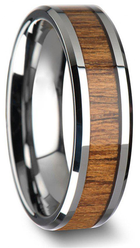 Stainless Steel Inlaid Teak Ring Couple Jewelry Birthday Gift Men - BROWN US SIZE 8