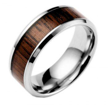 Stainless Steel Inlaid Teak Ring Couple Jewelry Birthday Gift Men - BROWN US SIZE 9