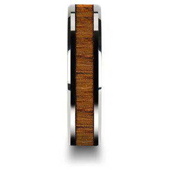 Stainless Steel Inlaid Teak Ring Couple Jewelry Birthday Gift Men - BROWN US SIZE 11