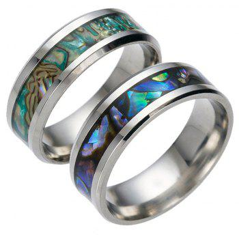 Punk Unique Stainless Steel Color Shell Ring Men Jewelry - BLUE GREEN US SIZE 10