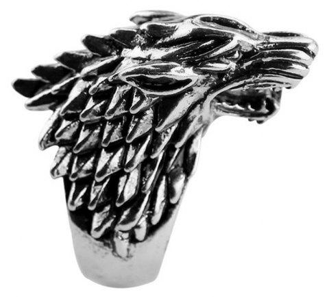 Fashion Personality Original Wolf Domineering Wolf Head Titanium Steel Ring Men Goth - BLACK US SIZE 9