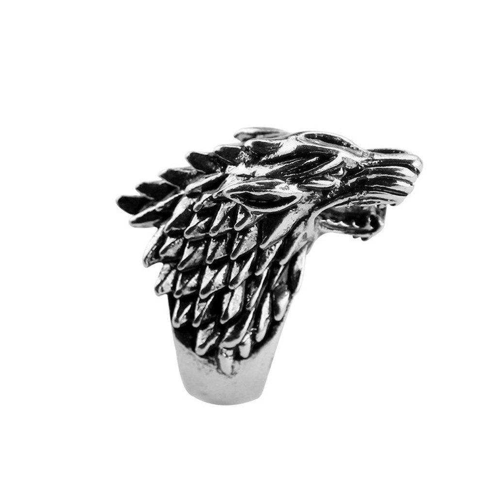 Fashion Personality Original Wolf Domineering Wolf Head Titanium Steel Ring Men Goth - BLACK US SIZE 10