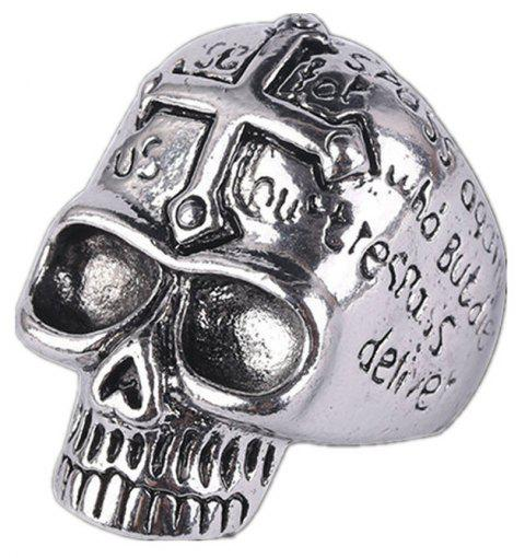 Titanium Steel Fashion Cross Skull Letter Ring Men - GRAY US SIZE 9